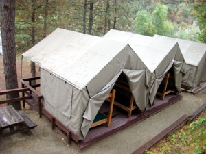 Deluxe Duplex Cabin Tent   2 Tents On One Deck. Sleeps Up To 12 Maximum  $100 Per Night For 2 Tents. CLICK FOR MORE PHOTOS And INFORMATION · Large  ...